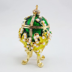 Copy Of Faberge 1979-003 egg jewelry box, green